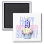 9no Cumpleaños de la magdalena del cumpleaños Imán De Frigorífico