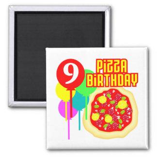 9no Cumpleaños de la pizza del cumpleaños Imán Cuadrado