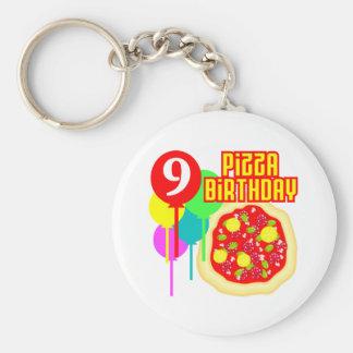 9no Cumpleaños de la pizza del cumpleaños Llavero Redondo Tipo Pin