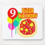 9no Cumpleaños de la pizza del cumpleaños Tapete De Ratón