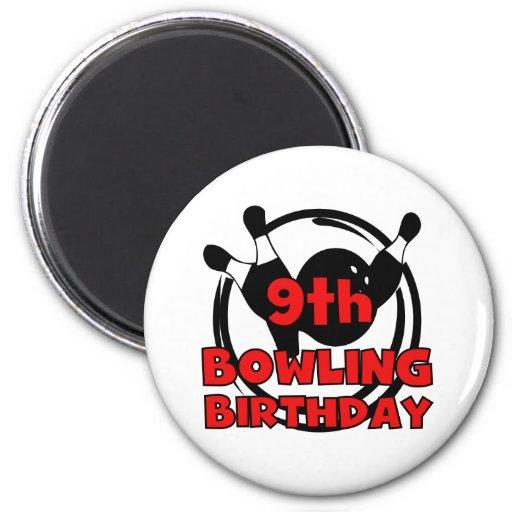 9no Cumpleaños de los bolos Imán Redondo 5 Cm