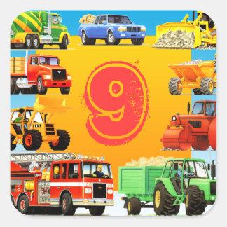 9no cumpleaños de los camiones grandes pegatina cuadrada