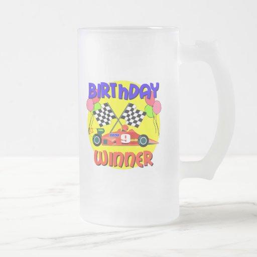 9no Cumpleaños del coche de carreras del cumpleaño Taza Cristal Mate