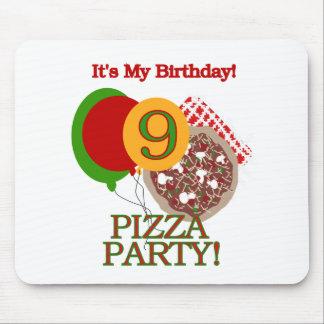 9no Cumpleaños del fiesta de la pizza Tapetes De Ratón