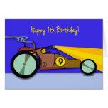 9no Cumpleaños para el niño, coche de playa en la  Tarjeton