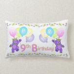 9no cumpleaños púrpura de princesa Bears Cojines