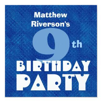 """9no cumpleaños W622 azul de los niños modernos Invitación 5.25"""" X 5.25"""""""