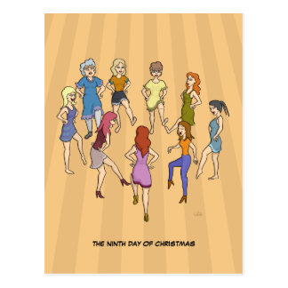 9no Día de postal del navidad (9 señoras que