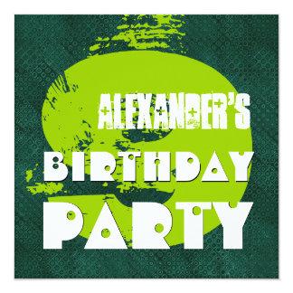 """9no Fiesta de cumpleaños puntos 9 años del verde Invitación 5.25"""" X 5.25"""""""
