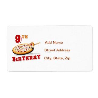 9no Fiesta de la pizza del cumpleaños Etiqueta De Envío
