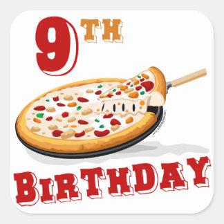 9no Fiesta de la pizza del cumpleaños Pegatinas Cuadradas Personalizadas