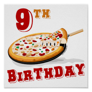 9no Fiesta de la pizza del cumpleaños Póster