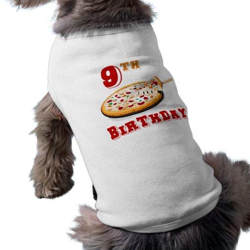 9no Fiesta de la pizza del cumpleaños Camisetas De Mascota