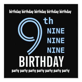 9no G200 azul de la fiesta de cumpleaños y negro Invitación 13,3 Cm X 13,3cm