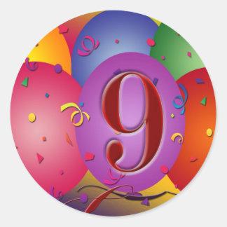 9no Globos coloridos de la fiesta de cumpleaños Pegatina