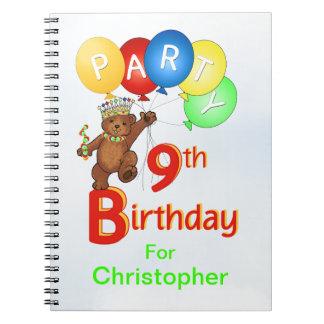 9no La fiesta de cumpleaños lleva el planear Spiral Notebooks