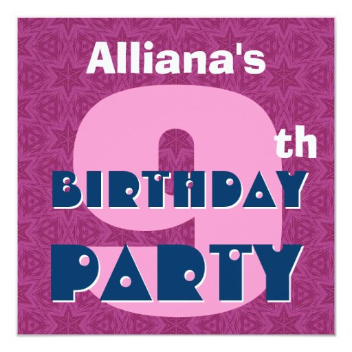"""9no La fiesta de cumpleaños nueve años de rosa Invitación 5.25"""" X 5.25"""""""