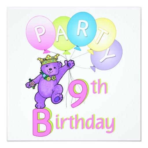 """9no Princesa Bear Balloons de la fiesta de Invitación 5.25"""" X 5.25"""""""