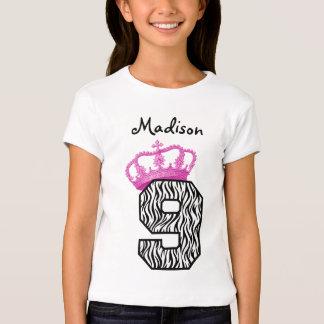 9no Princesa Crown y cebra V01 del cumpleaños Playera