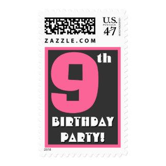 9no Rosado intrépido de la fiesta de cumpleaños y Timbres Postales