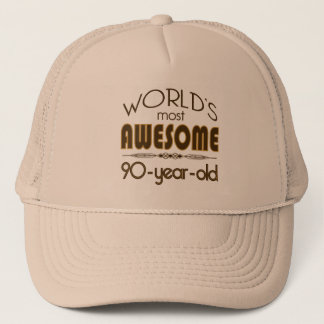 9oth Birthday Celebration World's Best in Brown Trucker Hat