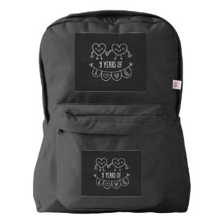 9th Anniversary Gift Chalk Hearts Backpack