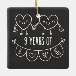 9th wedding anniversary ornaments keepsake ornaments zazzle 9th anniversary gift chalk hearts ceramic ornament negle Choice Image
