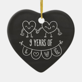 9th Anniversary Gift Chalk Hearts Ceramic Ornament
