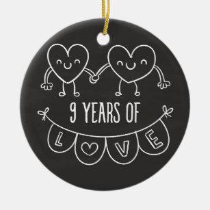 9th anniversary gifts on zazzle 9th anniversary gift chalk hearts ceramic ornament negle Choice Image