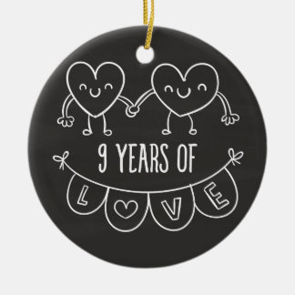 9th anniversary gifts on zazzle 9th anniversary gift chalk hearts ceramic ornament negle Choice Image