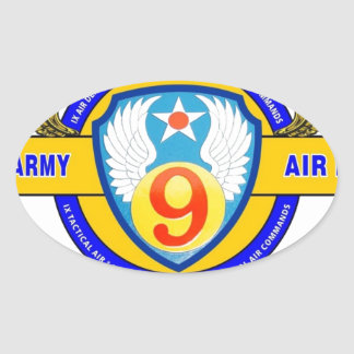 "9TH ARMY AIR FORCE ""ARMY AIR CORPS"" WW II OVAL STICKER"
