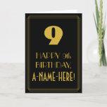 "[ Thumbnail: 9th Birthday ~ Art Deco Inspired Look ""9"" & Name Card ]"
