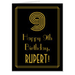 "[ Thumbnail: 9th Birthday: Art Deco Inspired Look ""9"" + Name Card ]"