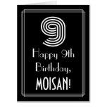 "[ Thumbnail: 9th Birthday — Art Deco Inspired Look ""9"" + Name Card ]"