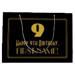 "[ Thumbnail: 9th Birthday — Art Deco Inspired Look ""9"" & Name Gift Bag ]"
