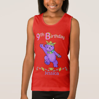 9th Birthday Bear Princess, Custom Name Tank Top
