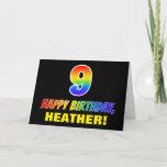 [ Thumbnail: 9th Birthday: Bold, Fun, Simple, Rainbow 9 Card ]