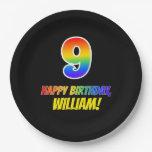[ Thumbnail: 9th Birthday: Bold, Fun, Simple, Rainbow 9 Paper Plate ]