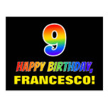 [ Thumbnail: 9th Birthday: Bold, Fun, Simple, Rainbow 9 Postcard ]