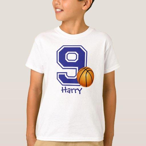 9th Birthday boy basketball personalized T-Shirt