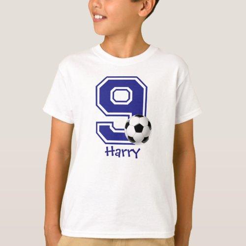 9th Birthday boy soccer personalized T_Shirt