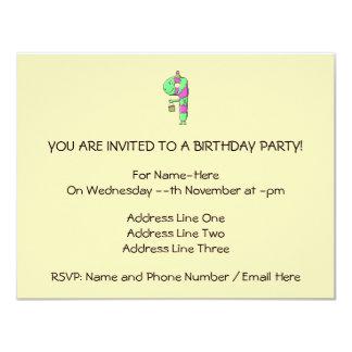 "9th Birthday. Bright and Colorful Cartoon. 4.25"" X 5.5"" Invitation Card"