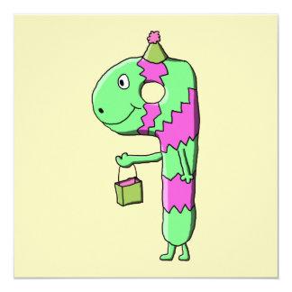 "9th Birthday. Bright and Colorful Cartoon. 5.25"" Square Invitation Card"