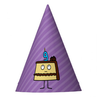 9th Birthday Cake with Candles Party Hat