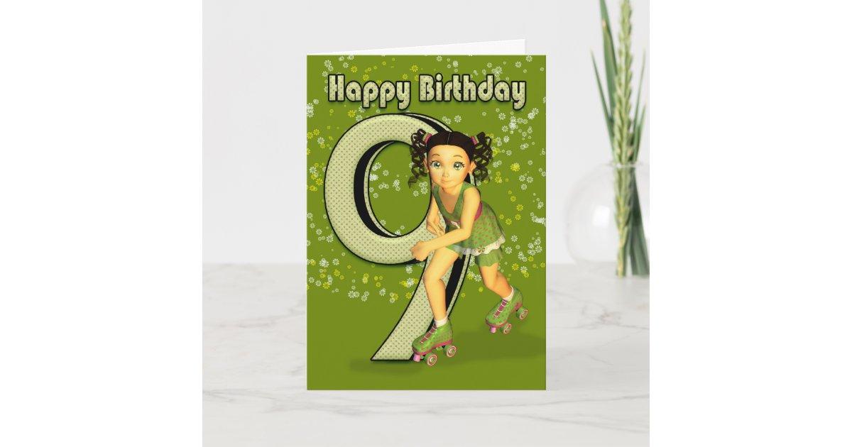 9th Birthday Card Little Girl Skating Zazzle