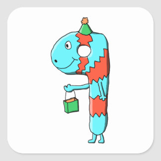9th Birthday Cartoon. Square Sticker