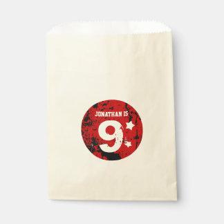 9th Birthday Collection Red Black Grunge B11 Favor Bag
