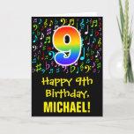 [ Thumbnail: 9th Birthday: Colorful Music Symbols + Rainbow 9 Card ]