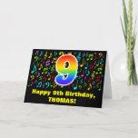 [ Thumbnail: 9th Birthday - Colorful Music Symbols & Rainbow 9 Card ]