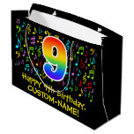 [ Thumbnail: 9th Birthday - Colorful Music Symbols, Rainbow 9 Gift Bag ]